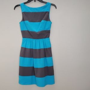 B. DARLIN grey & blue wide striped dress, sz 1/2